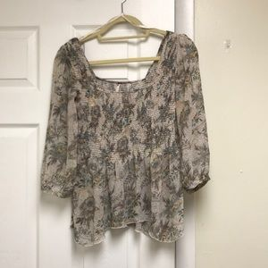 Free people 3/4 sleeve blouse